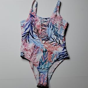 Lattice front & back Small Swimsuit Beach Thened